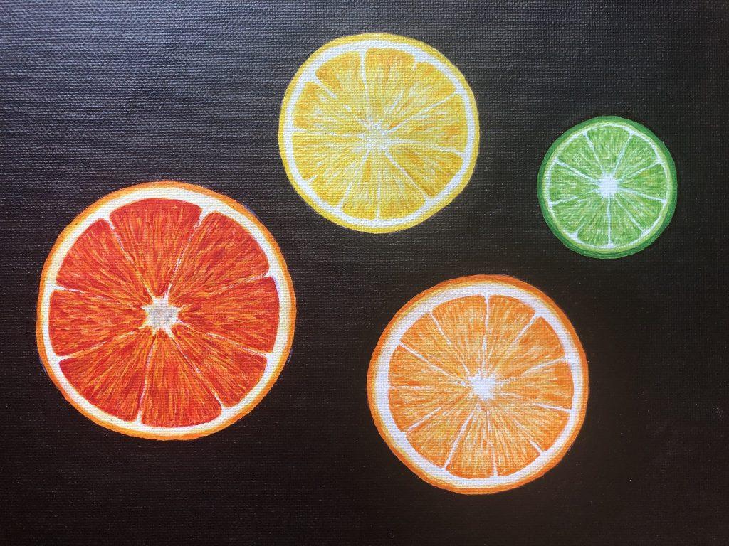 Citrus i akrylfärg