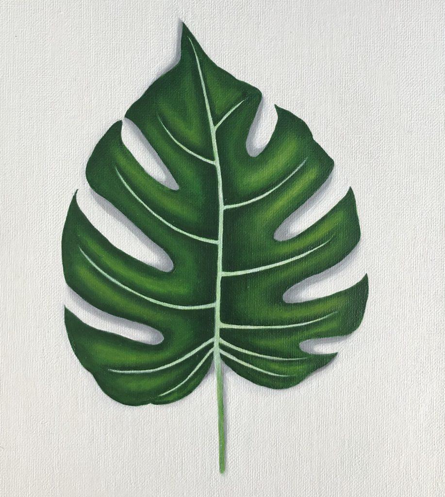 Monstera blad i akrylfärg