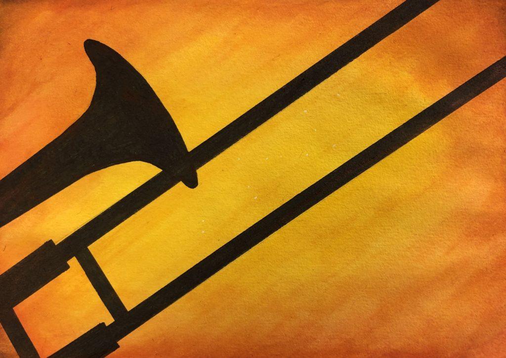 Trombon i akvarell